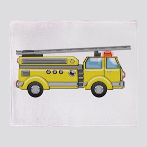 Shiny Yellow Firetruck Hook and Ladd Throw Blanket