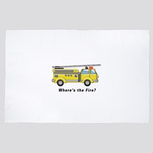 Shiny Yellow Firetruck Hook and Ladder 4' x 6' Rug
