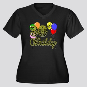 30th Birthday Women's Plus Size V-Neck Dark T-Shir