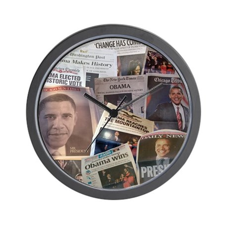 Obama Victory Headline Collag Wall Clock