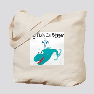 Aqua My Fish Is Bigger Tote Bag