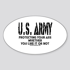 US ARMY PROTECTING YOUR ASS Oval Sticker