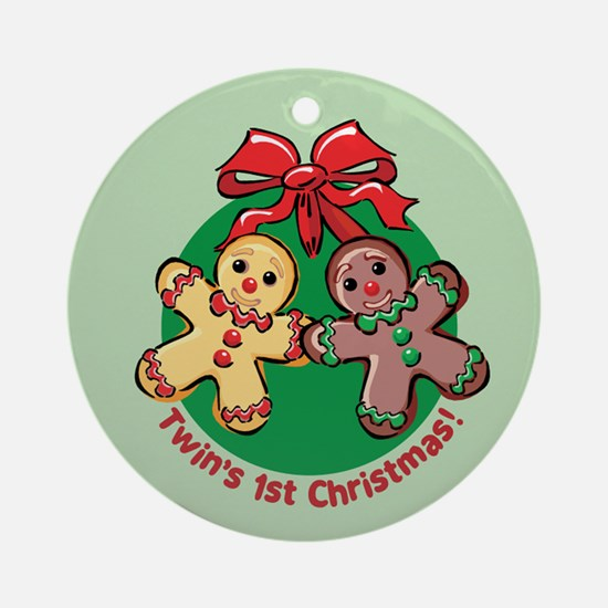 TWIN'S 1ST CHRISTMAS! Ornament (Round)