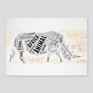animal africa african rhino rhinoce 5'x7'Area Rug