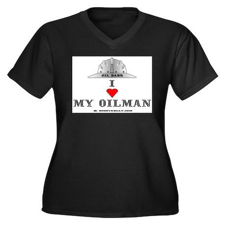 I Love My Oilman Women's Plus Size V-Neck Dark T-S