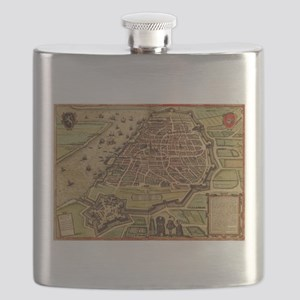 Vintage Map of Antwerp Belgium (1572) Flask