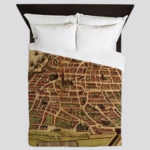 Vintage Map of Antwerp Belgium (1572) Queen Duvet