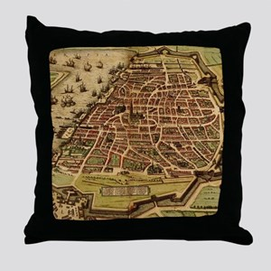 Vintage Map of Antwerp Belgium (1572) Throw Pillow