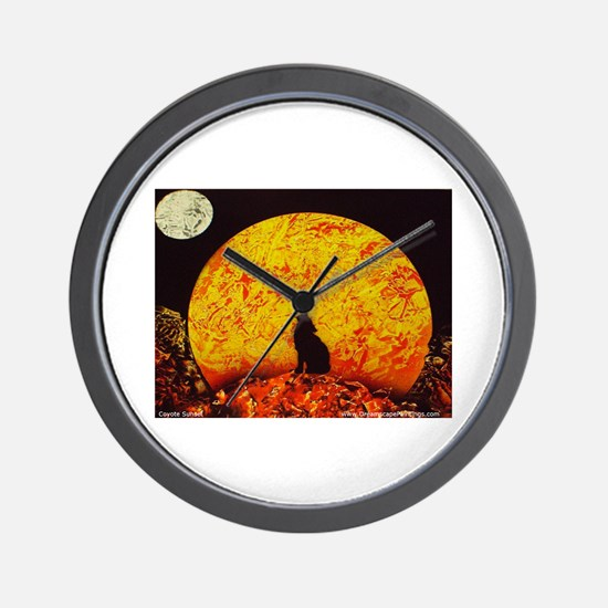 Coyote Sunset Wall Clock