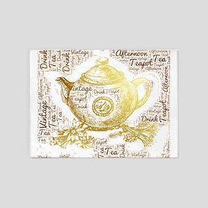 vintage tea teapot drink afternoon 5'x7'Area Rug