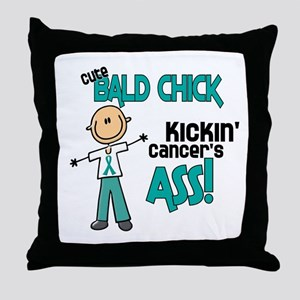 Bald 3 Teal (SFT) Throw Pillow