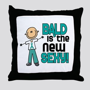 Bald 6 Teal (SFT) Throw Pillow
