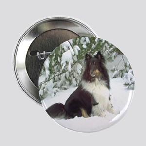 "Winter Pine Sheltie 2.25"" Button"