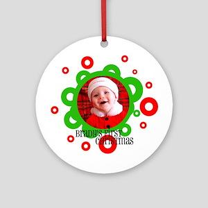 Santa Bubbles Baby's First XMas Ornament (Round)