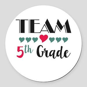 Team 5th Grade Teacher Shirts Bac Round Car Magnet