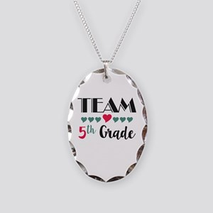 Team 5th Grade Teacher Shirts Necklace Oval Charm