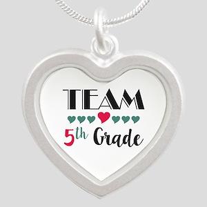 Team 5th Grade Teacher Shirt Silver Heart Necklace