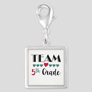 Team 5th Grade Teacher Shirts Silver Square Charm