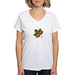 """Give Thanks"" Leaf Women's V-Neck T-Shirt"