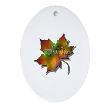 """""""Give Thanks"""" Leaf Oval Ornament"""