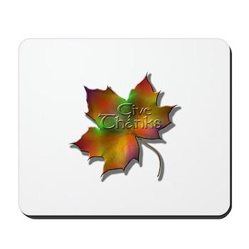 """Give Thanks"" Leaf Mousepad"