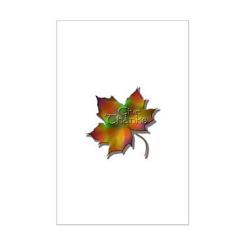 """Give Thanks"" Leaf Mini Poster Print"