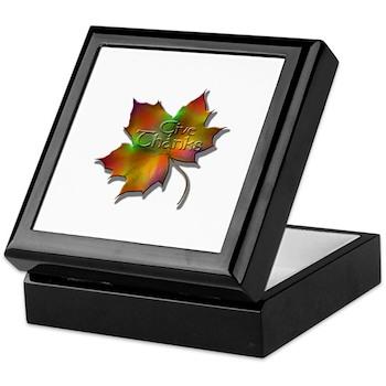 """Give Thanks"" Leaf Keepsake Box"