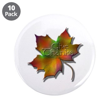 """""""Give Thanks"""" Leaf 3.5"""" Button (10 pack)"""