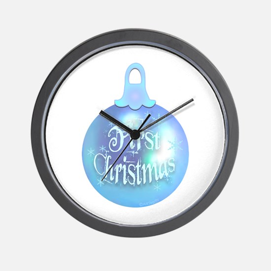 First Christmas (blue) Wall Clock