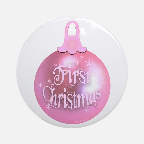First Christmas (pink) Ornament (Round)