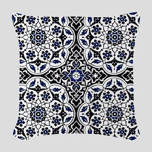Morocco Blue Woven Throw Pillow