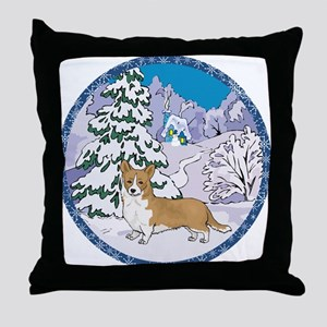 Winter Wonderland Corgi Throw Pillow