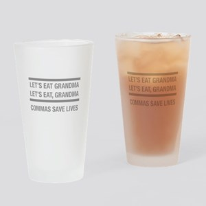 commas save lives Drinking Glass
