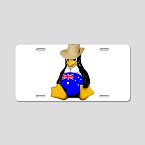 Tux Down Under Aluminum License Plate