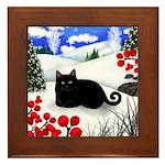BLACK CAT WINTER BERRIES Framed Tile