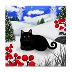 BLACK CAT WINTER BERRIES Tile Coaster