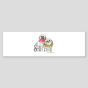 Two Shih Tzu! Bumper Sticker