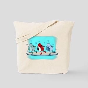 Ice Skating Birdies Tote Bag
