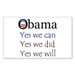 Obama: Yes we will Rectangle Sticker 10 pk)