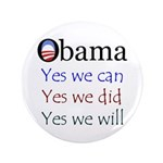 """Obama: Yes we will 3.5"""" Button (100 pack)"""