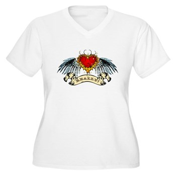 Really? Winged Heart Women's Plus Size V-Neck T-Sh