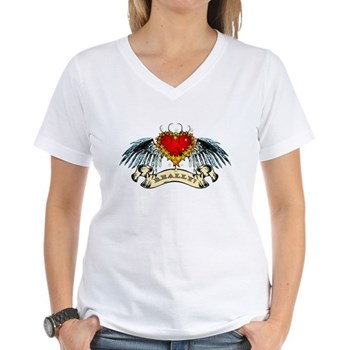Really? Winged Heart Women's V-Neck T-Shirt
