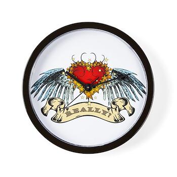 Really? Winged Heart Wall Clock