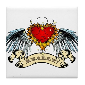 Really? Winged Heart Tile Coaster