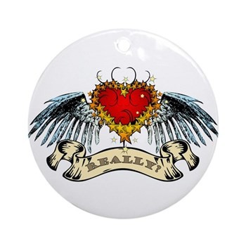 Really? Winged Heart Round Ornament