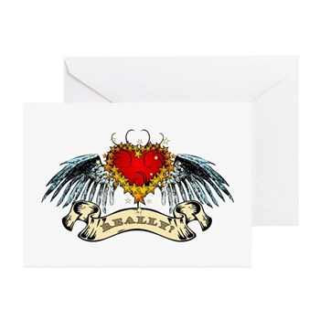 Really? Winged Heart Greeting Cards (10 pack)