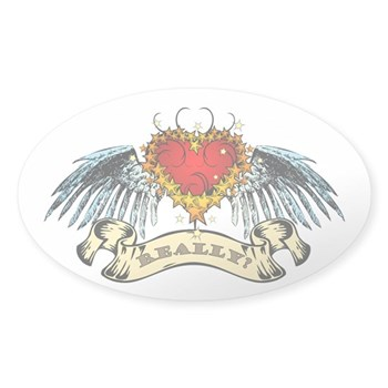 Really? Winged Heart Oval Sticker
