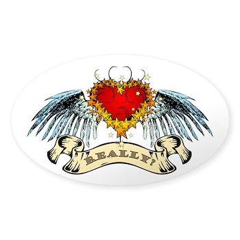 Really? Winged Heart Oval Sticker (10 pk)