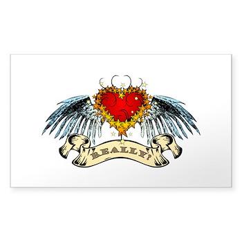 Really? Winged Heart Rectangle Sticker 10 pk)