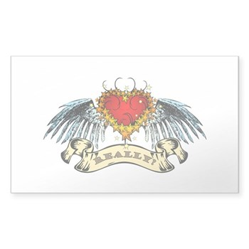 Really? Winged Heart Rectangle Sticker 50 pk)